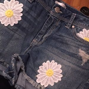 Daisy Dukes Denim Shorts Distressed Embroidered